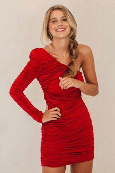 Vestido Rojo Drapeado Aria